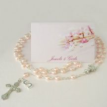 Pink Heart Rosary Beads with Letter Charm, for Girls